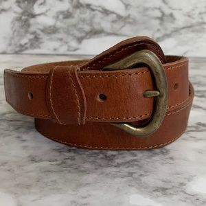 Vintage brown brass buckle belt size small